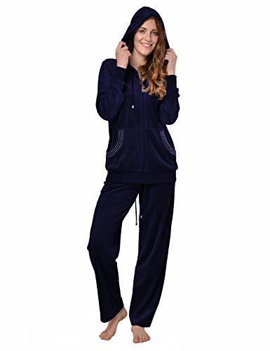 RAIKOU Damen Micro Velours Freizeitanzug Hausanzug mit Reißverschluss Nicki-Anzug Zweiteiliger Schlafanzug mit Strasssteinen (40/42, Nachtblau)