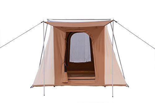 WHITEDUCK PROTA Canvas Cabin Tent – Waterproof, 4 Season Outdoor Camping Tent Made from Premium 100% Cotton Canvas w/Reflective Sunblock Roof, Mesh & Extra-Wide Doors (10' x 10', Brown - Deluxe)