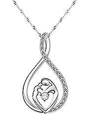 CNNIK Zirkon halsband för mamma, droppformad damkedja, hängsmycke halsband för mor och barn, eleganta smycken, mors dag tacksägelsedagen födelsedag julklapp från dotter och son