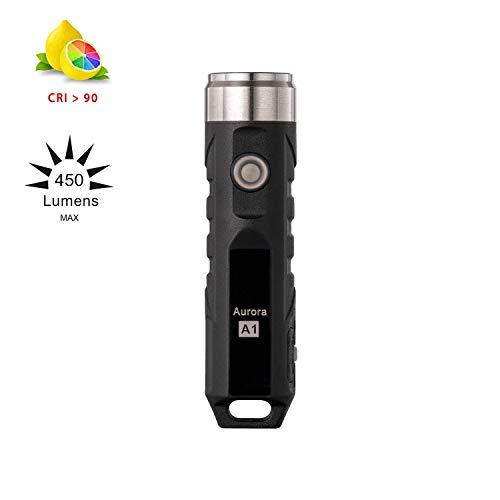 RovyVon A1 Mini LED Taschenlampe, 350 Lumens, Nichia Schlüsselbund Taschenlampe 4500K, High CRI Keychain Taschenlampe, Wiederaufladbare USB Licht IPX5
