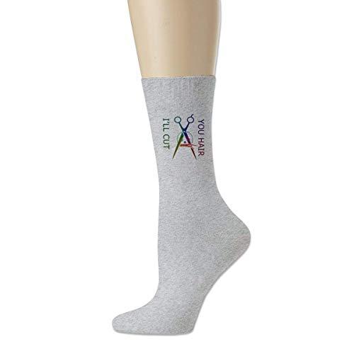 MissFortune Dein Haar Ich schneide Unisex Erwachsene Sport Baumwolle Casual Crew Knit Socks Crew Socks All Season Grey