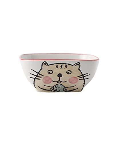 MANSIFANG Postre De Cerámica Pájaro Nido Desayuno Cereal Yogurt Bowl Creative Personalidad Cuadrado Super Lindo Lindo Dibujos Animados Tazón Vajilla (Color : Style 1)