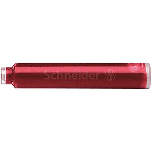 Schneider Schreibgeräte Standard-Tintenpatronen, passend in SCHNEIDER und viele andere, rot, 6er