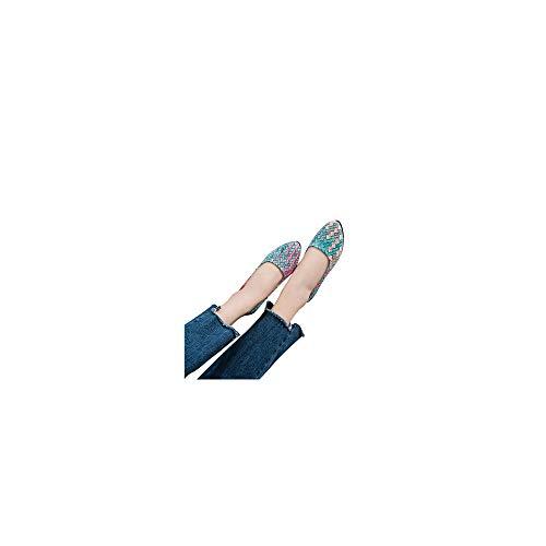 Damen Geschlossene Ballerinas mit Webdesign, Frauen Flache Schuhe Elegante Mokassins Weich Bequeme Loafers Casual Slip-Ons Schöner Damenschuhe Celucke (Grün, 37 EU)