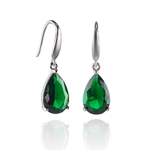 Namana grüne Tropfen-Ohrringe für Damen, Ohrhänger grünen Steinen im Birnenschliff, grüne hängende Ohrringe für Frauen mit Geschenkbox