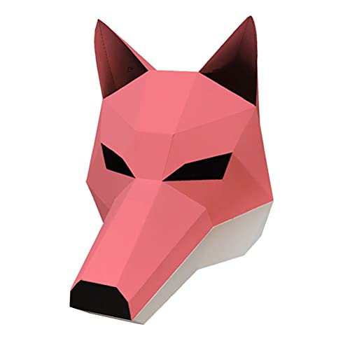 SRQHMXSF Halloween Anime Cosplay, 3D Animals Puzzles DIY Origami Fox Mask for Kid, Adult-Party Fun Toy Low Poly Animal Face Cover Masquerade Headgear-DIY Gift Bag Chair (Color : D)