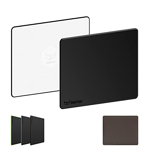 Seihoo Hard Mouse Pad Premium Hard Esports Waterproof Ultra Smooth No Irritating Smell Environmental Resin Mousepad Fast and Accurate Control for Office and Game Gaming Laptop (Black, 11.81x9.45in)