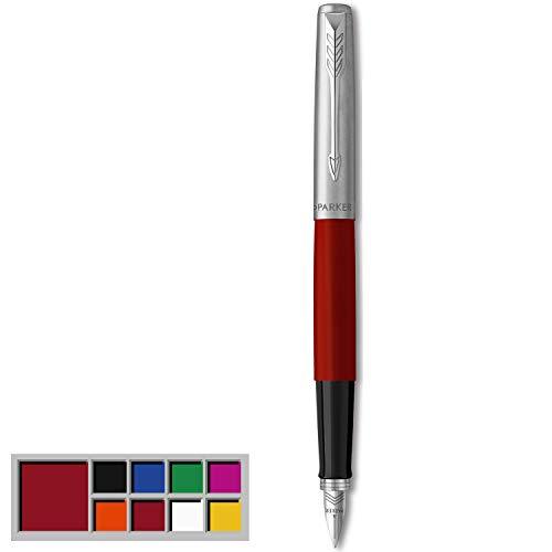 Parker Jotter Originals Pluma Estilográfica, Acabado Rojo Clásico, Plumín Mediano, Tinta Negra Y Azul