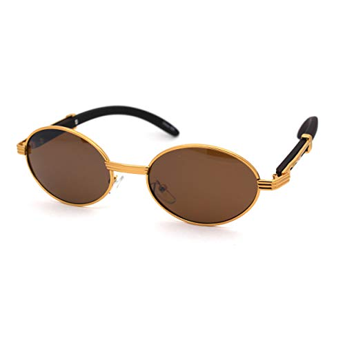 SA106 Retro Art Nouveau Vintage Style Small Oval Metal Frame Sunglasses (yellow gold solid brown, 49)