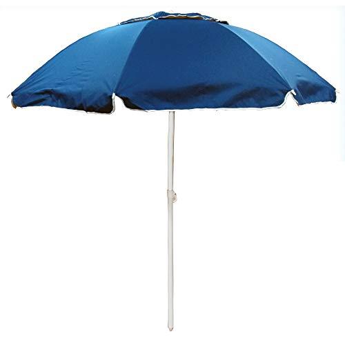 Ombrellone da spiaggia in policotone diam. 200cm, ombrellone mare portatile con custodia con tracolla, ombrellone spiaggia Ø 2M blu in acciaio e bacchette rinforzate da 3,5mm, ombrellone 200cm Jesolo