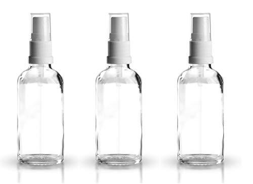 3 x Klarglasflaschen / Sprühflaschen 50 ml inkl. Pumpzerstäuber / Sprühkopf weiss DIN 18 mit transparenter Schutzkappe / Klarglasflasche / Klarglas / Sprühflasche / Zerstäuber / Spraykopf *Apothekenqualität, gefertigt nach dem Europäischen Arzneibuch*
