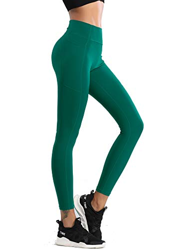 QueenDer Leggings Fitness Donna Yoga Sportivi Palestra Vita Alta Opaco Allenamento Leggins Lungo Pantaloni con Tasche per Running Cycling Ginnastica (Verde, M)