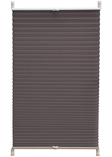 Deco4Me Plissee Klemmfix ohne Bohren 65x140cm Silber-grau Jalousie Faltrollo Fenster