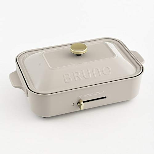 BRUNO ブルーノ コンパクトホットプレート 本体 プレート2種(たこ焼き 平面) グレージュ Greige おすすめ おしゃれ かわいい これ1台 蓋 ふた付き 1200w 温度調節 洗いやすい 1人 2人 3人用 小型 小さいサイズ 少人数用 ひとり暮らしにも BOE021-GRG