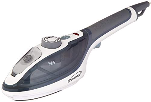 Brentwood Clothes Steamer and Iron Non-Stick, Handheld, White/Black
