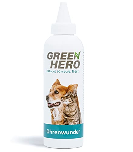Green Hero Ohrenwunder pflegt das Ohr und unterstützt den Regenerationsprozess bei Ohrmilben Juckreiz Entzündungen Infektionen Läusen für Hund und Katze 200ml
