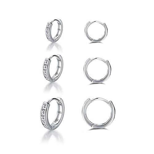 Pendientes de aro de plata 925, 3 pares de pequeños pendientes de aro de plata para mujer (8/10/12 mm) con circonita AAA, pendientes redondos, cartílago, juego de joyas para mujeres, hombres y niñas