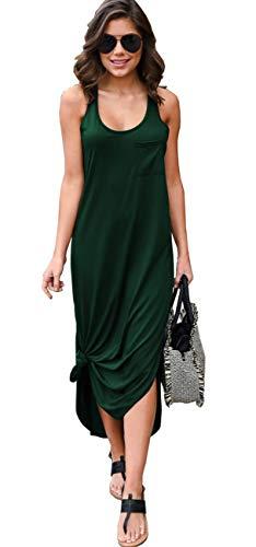 Longwu Mujer Vestido Suelto Irregular Suelto sin Mangas Lateral Dividida Maxi Vestidos con Bolsillo