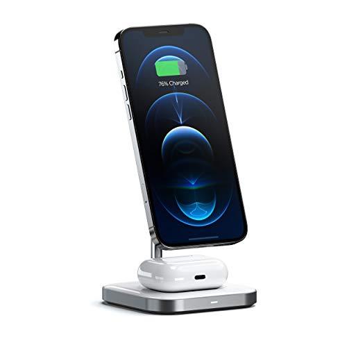 Satechi Stand di Ricarica Wireless Magnetico 2 in 1 in Alluminio – Compatibile con iPhone 12 Pro Max/12 Pro/12 Mini/12 con MagSafe, AirPods Pro