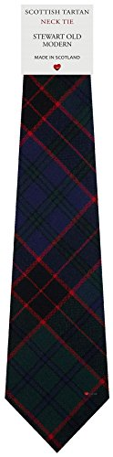 I Luv Ltd Cravate en Laine pour Homme Tissée et Fabriquée en Ecosse à Stewart Old Modern Tartan