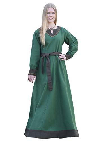 Battle-Merchant Jona - Abito Medievale a Maniche Lunghe con Cintura - Cotone - Donna - Ideale per Giochi di Ruolo dal Vivo (Larp) e Costume di Carnevale - Verde - M