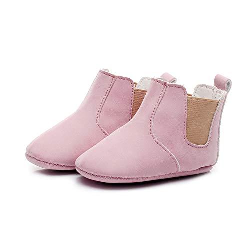 newhashiqi Zapatos de bebé, unisex, cálidos, antideslizantes, para invierno, para bebés, niñas, niños, suela suave, para el primer caminante, color rosa, 12 unidades