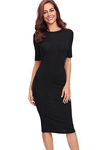 SheIn Women's Short Sleeve Elegant Sheath Pencil Dress Large Black
