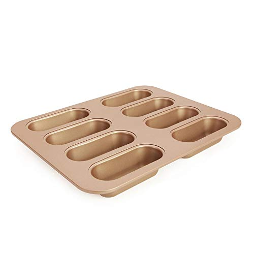Bac bac Bread Molds Bread Loaf Pan Mini Hot Dog Non-stick Metal Baking Pan Finger Puff Mould Oven Baking Pan Bake Tool 8 Cup Bac bac