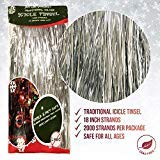 Premium Icicle Tinsel Garland for Christmas Trees - 2000 Old-Fashioned Shiny Mylar Strands - Each Strand 18 Inch Long - Kid & Pet Safe (Lead-Free) - Hang with Ornaments & Xmas Decor (Silver)
