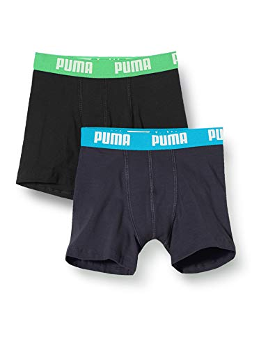 PUMA Jungen Boys Basic Boxer 2P Boxershorts, Mehrfarbig (India Ink/Turquoise 376), (Herstellergröße: 176) (2er Pack)