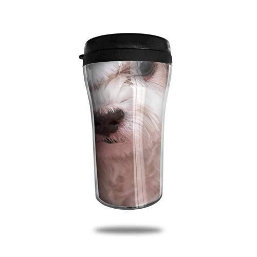 Taza de café de viaje con impresión 3D, taza de té, taza de agua aislada, taza de viaje para hombres, mujeres y niños, perro con sombrero de Navidad