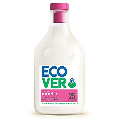 Ecover Weichspüler - Apfelblüte & Mandel (750 ml / 25 Waschladungen), Weichspüler mit pflanzenbasierten Inhaltsstoffen, ökologischer Weichspüler für weiche und duftende Wäsche