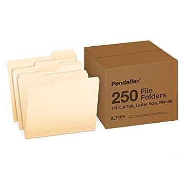 Pendaflex File Folders, Letter Size, 1/3 Cut, Manila, 250 per Box (752250)