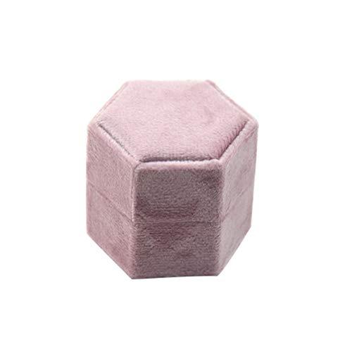 TOPBATHY Sieraden Opbergtas Fluwelen Ring Box Display Doos Bruiloft Ring Houder (Pinkt, Zeskantvorm)