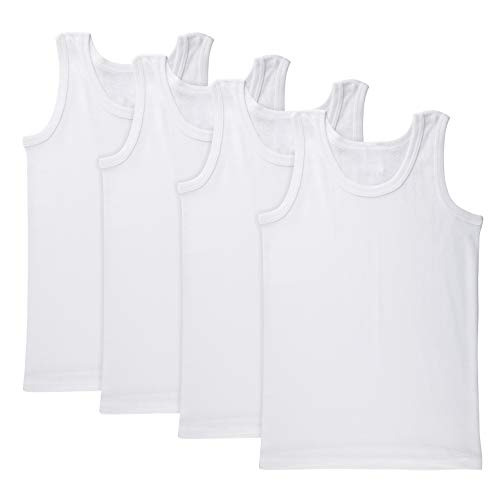 Brix Boys' White Tank top - 100% Cotton Tagless Super Soft Undershirts 4-Pack.