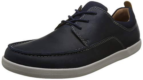 Clarks Un Lisbon Lace, Zapatos de Cordones Derby para Hombre, Azul (Navy Combi-), 44 EU