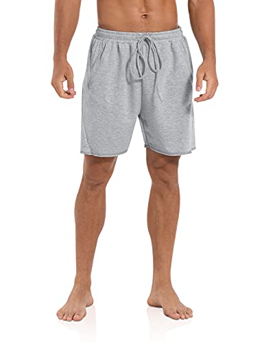 """Agnes Urban Mens 5.7"""" Shorts Athletic Running Workout Casual Lounge Elastic Waist Active Gym Cotton Terry Shorts with Pockets Light Grey"""