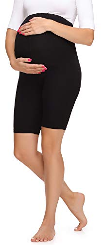 Merry Style Leggins Premamá Pantalones Cortos Mujer MS10-299 (Negro, XL)
