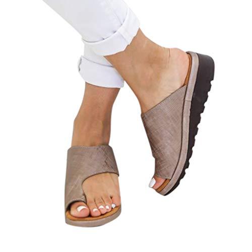 Sandales Plates Femmes Confortables Orthopedique Chaussures Plateforme - 2020 Newest Été Sandales Femmes Sandales Plates Toe T-Sangle Comfy Semi Trailer Sandales Chaussures de Plage (Style G, 40)