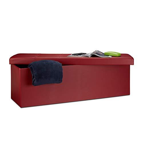 pouf contenitore rosso Relaxdays 10019045_708 Sgabello Pieghevole Cassapanca Pouf