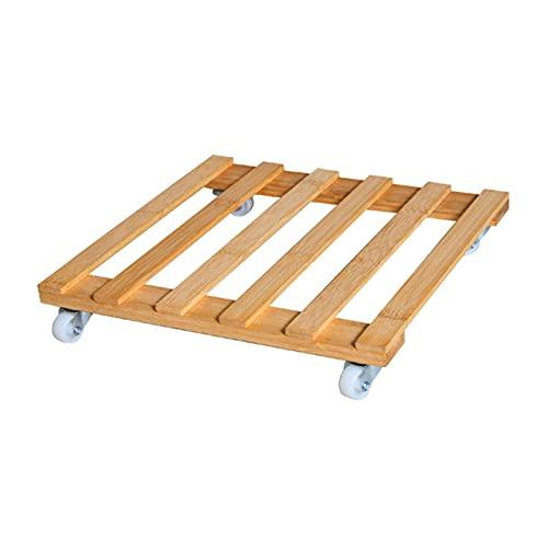 Carrito de plataforma para plantas con 4 ruedas, madera natural para plantas, soporte de bambú, con ruedas de ruedas fáciles de mover (madera)