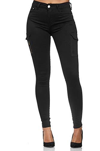 Elara Damen Cargo Jeans Slim Fit Seiten Taschen Chunkyrayan MA2018 Black-44 (2XL)