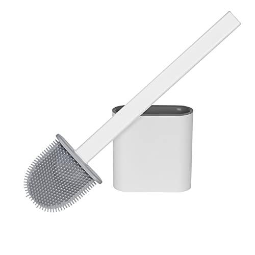 Vicloon Escobilla de Inodoro de Silicona, Escobillas de Inodoro con Mango Antideslizante y Cerdas Flexibles, Cepillo de Inodoro de Silicona con Soporte de Secado RáPido para Inodoro de BañO (Blanco)