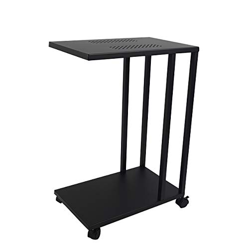H JINHUI C Shaped Side End Table,Mobile Sofa/Living Room Small Side Table, Snack/Coffee/Laptop Table,That Slide Under for Small Spaces,with Lockable Wheels (Black)
