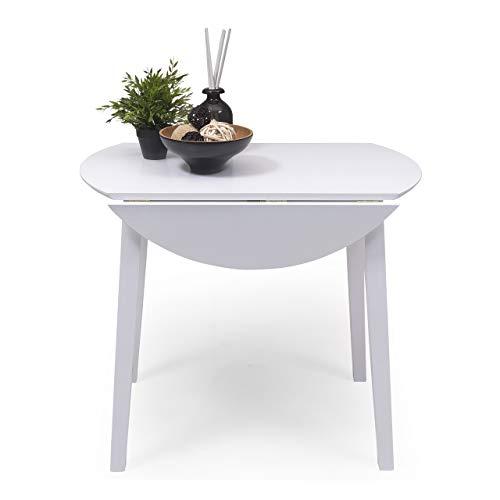 Mesa de Comedor o Cocina Redonda Extensible Dallas de 90 cm de diámetro (17,5/55 / 17,5 cm) Madera lacada Color Blanco