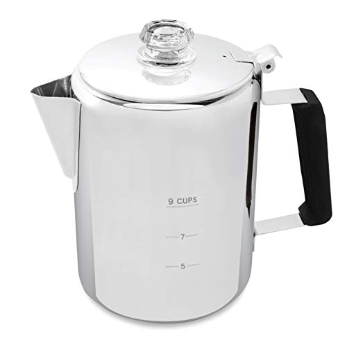 Camping Percolator - Our Camp Percolator Coffee Pot for Outdoor Cookware - 9 Cup Stainless Steel Coffee Maker for Cabin and RV Kitchen Stovetop Too - Add Great Taste to Your Campfire Cooking Equipment
