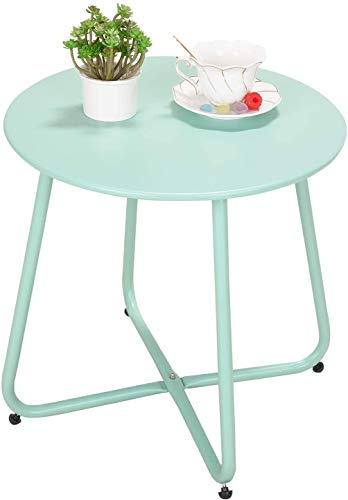 Grand patio Balcony Table,Various of Colours, Garden Side Table, Lightweight, Weather Resistant, Small Side Table for Living Room, Hallway, Bedroom, Garden, Terrace, Balcony (Mint Green)