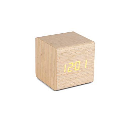 Balvi-Wood KuboDespertadorDigitaldeMadera.con3alarmas,Calendario,termómetroyNiveldeBrilloAjustable.AlimentadoporCable USB.