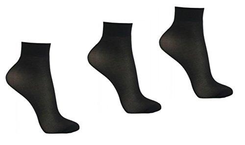 Mytoptrendz Girls Women's Ankle High Opaque Semi Sheer Nylon Pop Socks Anklet 3 Pair pack (Black)