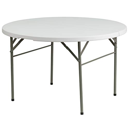 Flash Furniture 4-Foot Round Bi-Fold Granite White Plastic Banquet and Event Folding Table with Carrying Handle